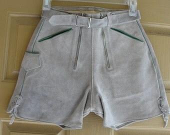 "Vintage Suede Leather Lederhosen Shorts Woman XS 22"" waist Oktoberfest youth"