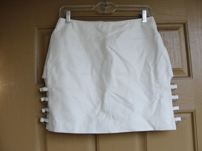 White Leather Mini Skirt 68