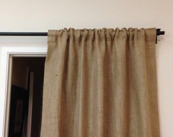 "53"" x 84"" Burlap Window Treatments, Burlap Curtains, Natural, Curtains, living room decor, bedroom curtains, burlap, Sale"