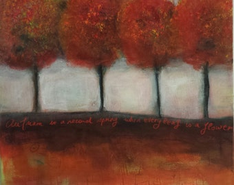 "Fox Forrest - Original Art Red Tree landscape painting  23"" x  23"" Acrylic Canvas Art"