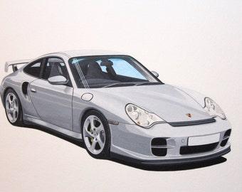 Porsche GT 2 supercar. Original painting by Malcolm Davies
