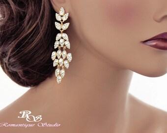 Gold bridal earrings wedding earrings crystal earrings rhinestone earrings chandelier earrings vintage style  1184