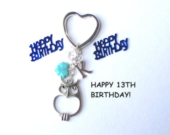 13th birthday gift - Personalised owl keychain - 13th gift for sister, friend, daughter - Custom 13th birthday keychain - owl keyring - UK