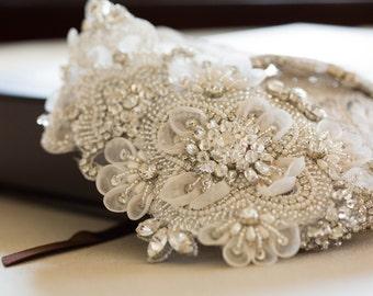 Soft ivory and offwhite wedding dress belt -  Style  R04