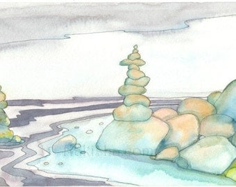 Stacking Stones - Original Watercolor Painting