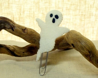 Wool Felt Ghost Bookmark with Paperclip, Halloween Business Card Holder, Gift Card Holder *Ready to ship