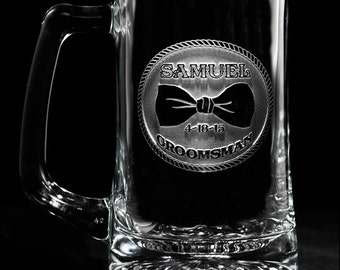 Groomsmen Bowtie Beer Mug, Engraved Gifts, Set of 5 (bowmug)