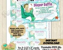 Diaper Raffle Tickets Girls Baby Shower Baby Mermaid Girl Mermaids diy-printable Fair Blonde Blue eyes INSTANT DOWNLOAD 045-A111