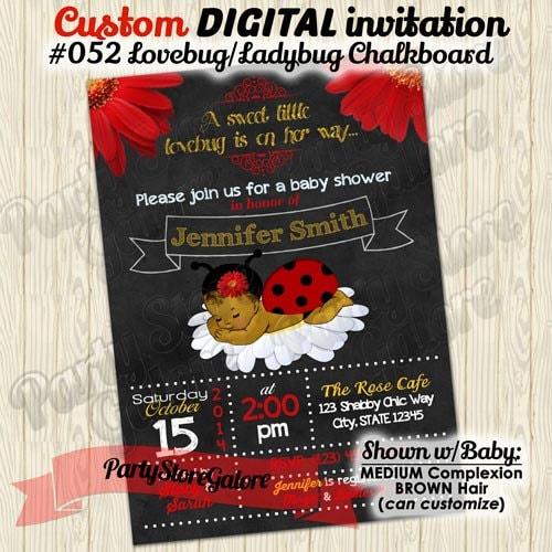 Ladybug Baby Shower Invitation Vintage Baby Girl Shower