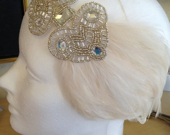 Great gatsby headband, flapper dress fascinator, Ivory feather headband, 1920s dress headband, hair accessories flapper vintage beaded