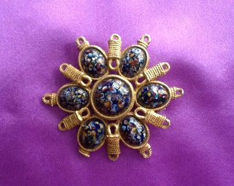 Vintage multicolored glass brooch