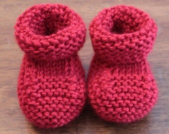 Hand Made Knitted Red Baby Booties - 0 - 3 Months