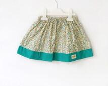 girl's skirt in floral, baby skirt, little flowers in teal, cotton skirt, spring/summer toddler skirt