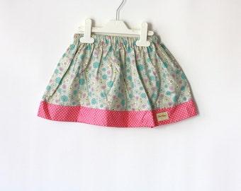 Pastel Color Skirt, Girls Skirt, Floral gathered skirt for toddler, Pink and Blue girls Skirt