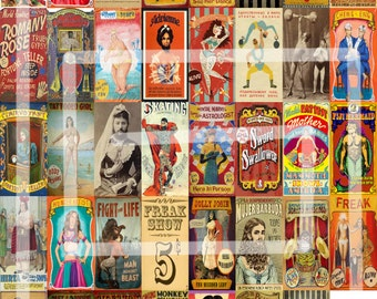 """40, 1x2"""" Vintage Circus Sideshow, Freak Show, Playbills/Posters/Ads/Clipart Stickers INSTANT DOWNLOAD - 8.5x11"""" pdf"""