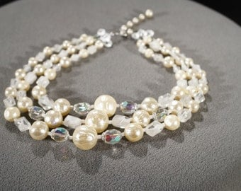 Vintage Art Deco Style Faux Pearl Aurora Borealis Adjustable Three Tiered Strand Necklace Jewelry   K