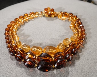 Vintage Art Deco Style Lucite Amber Glass Beads Graduating Unique Design Clasp Three Strand Necklace Jewelry   K