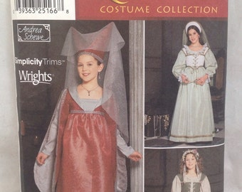 Simplicity Renaissance Costume 9836,Girl,Size 7-14, CUT TO SIZE 12