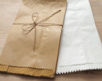 Kraft / White Paper Lolly Bags for Gifts Favours Rustic Wedding - Pack of 20