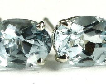 Aquamarine, 925 Sterling Silver Post Earrings, SE002