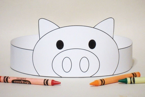 template for pig ears - pig paper crown color your own printable