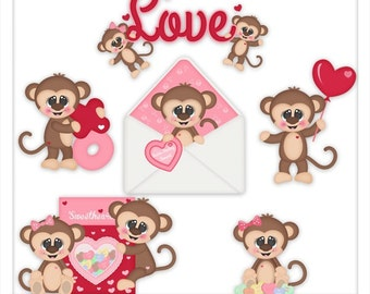 DIGITAL SCRAPBOOKING CLIPART - Monkey Love