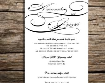 Black and white wedding invitation suite, Elegant vintage wedding invitations