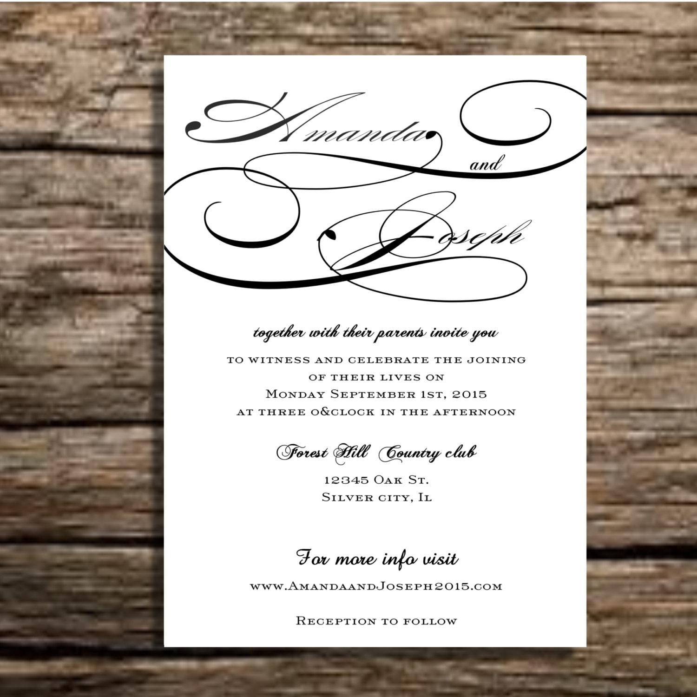 Black And White Wedding Invitation Suite Elegant Vintage