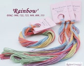 Hand dyed, hand painted cotton thread for embroidery, cross stitch, point de croix - 'Rainbow'