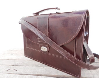 Brown Leather Laptop Bag for Women, Leather Messenger Cross Body Macbook pro Satchel Bag , Gift for her