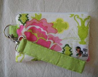 Wristlet Wallet Pink Flowers
