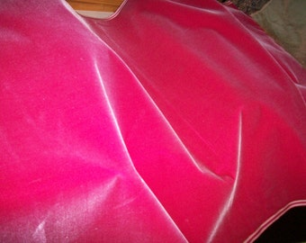 Antique Silk Velvet Old Store Stock in RASPBERRY SHERBET Yardage available French Milinery, Upholstery, Dolls Victorian