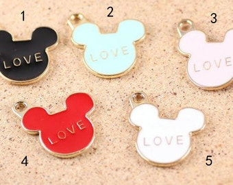 10 pcs of antique gold mickey mouse love  charm pendants25x22mm