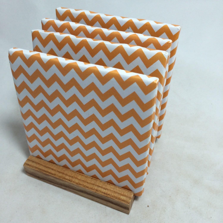 Handmade Orange Chevron Drink Coasters Set Of
