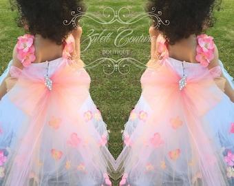 Flower Girl Dress - Lace Dress - Big Bow Dress -Wedding Dres- Girls Lace Dress - Emily Bloom Dress by zulettcouture