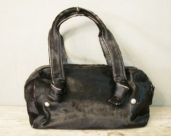 Vintage Bag, Women Bag, Duffle Bag, Women Handbag, Vintage Viva Handbag of California, Black Cow Hair, Leather Bag, Made in U.S.A.