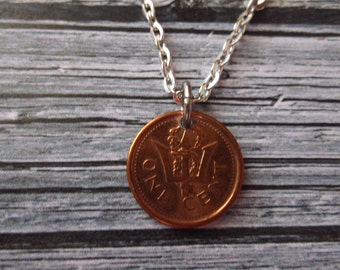 Barbados Coin Necklace - coin pendant - Barbados Coin - One Cent Pendant -