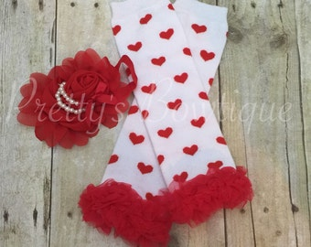 Hearts White and Red Valentine's legwarmers and headband