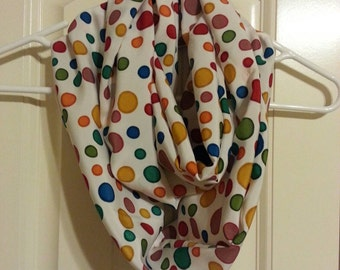 Rainbow Dots Polyester Adult Infinity Scarf