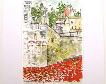 The Poppies at the Tower of London  Giclee Print