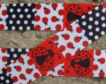 3 yards Lady Bug Ribbon hair bow ribbon craft supplies