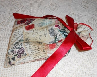 Fabric Gift Bag wrap, 3 sizes, Valentine jewelry box size and wine, sweetheart vintage rose words on cream, Reusable Love Festive gift bag