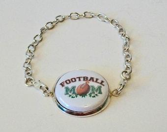 Fun Football Mom Silver Chain Fashion Bracelet