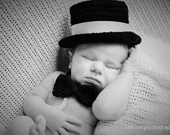 Crochet PATTERN - Baby Top Hat with BONUS Bow-Tie! **PDF Pattern**