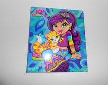 Vintage Lisa Frank Colorful Cat Girl Valerie My Memories 3 Ring Binder