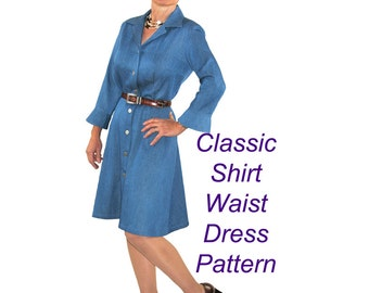 Priscilla Dress Sewing Pattern, Shirt Waist Dress Pattern, BSS157
