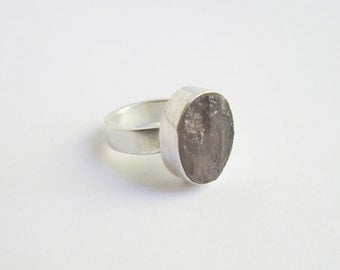 Rose Quartz Ring - Size 8.5 - Sterling Silver - Rough - Pink -  Natural Stone - Handmade Jewelry - Bague - Anillo