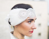 Headband Iris - customizable wedding hair accessory - applies strassée - feathers - Sautoir et  Poudrier