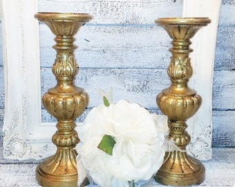 """Two 12"""" Wedding Candle Holder Pillar Antique Gold/Fireplace Candle Holder/Holiday Candle Holder"""