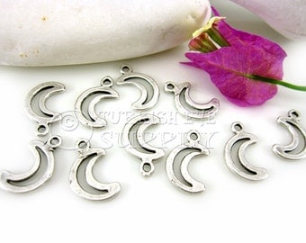 10 pc Mini Moon Charms, Antique Silver Plated  Mini Crescent Charms, Turkish Charms, Turkish Findings, Turkish Jewelry